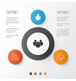 internet icons set collection of download wifi vector image vector image