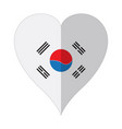 isolated flag of south korea on a heart shape vector image vector image