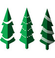 isometric christmas trees isolated on white vector image