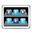 Karaoke blue app icons vector image