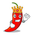 king red chili pepper isolated on mascot vector image vector image