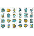 latte icons set flat vector image vector image