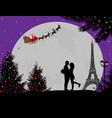 lovers in paris with santas sleigh vector image vector image