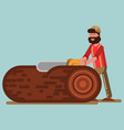 lumberjack chopping the tree with chainsaw vector image