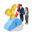man and woman profit growth save dollars vector image