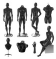 mannequins men realistic black image set vector image