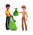 men collect plastic bottles into garbage bags vector image vector image