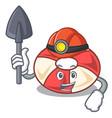 miner swim tube mascot cartoon vector image vector image