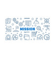 mission outline blue horizontal banner in thin vector image vector image