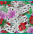 music notes floral seamless pattern vector image vector image