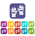 pair of paintball gloves icons set vector image vector image
