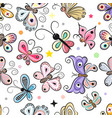 pattern with cute cartoon butterflies vector image vector image