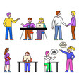 people at work colleagues laptops at seminars vector image vector image