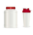 realistic white plastic jar shaker drink bottles vector image