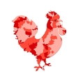 Rooster silhouette with red camo or camouflage vector image vector image