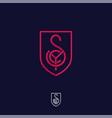 s y c monogram red lines shield vector image vector image