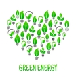 Saving energy icon with heart made of light bulbs vector image vector image
