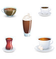 set of delicious hot drinks coffee tea a vector image vector image