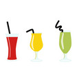 set of exotic alcohol cocktails or juices isolated vector image