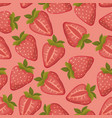 strawberries seamless pattern with pink vector image vector image
