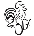 stylized rooster - a symbol 2017 vector image