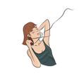 teen girl listens to music in earphones vector image