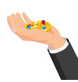 the hand that holds the treasure gems diamonds vector image vector image