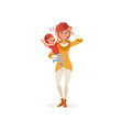 tired mother with crazy hair holding her screaming vector image vector image