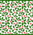 winter background holly seamless pattern vector image