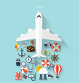 World travel concept background plane Flat vector image