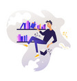 young boy flying surrounded by books and shelves vector image vector image