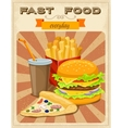 Fast Food Retro Style Poster vector image