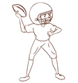A plain sketch of an American football player vector image vector image