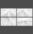architecture wireframe background set building vector image vector image