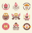 bakery retro labels cupcakes donuts cookies and vector image