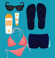 beach items set vector image vector image