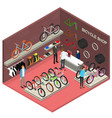 bicycle shop interior with furniture isometric vector image vector image