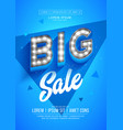 blue big sale poster or flyer design retro light vector image vector image