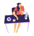 bored woman sitting table with flowers and vector image