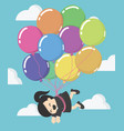 business woman floating with balloon vector image vector image
