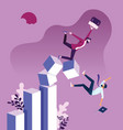 businessman falling down graph chart vector image