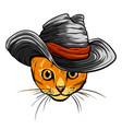 cat in a hat and tie vector image