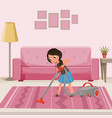 cheerful teen girl cleaning carpet with vacuum vector image vector image