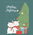cute cats celebration happy christmas card vector image