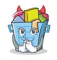 devil laundry basket character cartoon vector image vector image