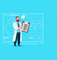 doctor holding clipboard with analysis results and vector image vector image