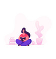 education hobconcept woman sitting on floor vector image vector image
