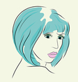 Fashion woman in short hair and pink lip vector image vector image