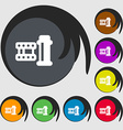 film Icon sign Symbols on eight colored buttons vector image vector image