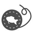 fishing reel solid icon scaffold thread vector image vector image